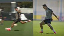 Cristiano Ronaldo vince la sfida in allenamento: cannonate, gol e applausi