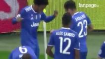 Lione-Juventus 0-1, Cuadrado in rete: l'esultanza esplosiva del colombiano