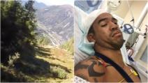 Si lancia con la tuta alare ma si schianta contro gli alberi: le immagini del pauroso incidente
