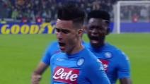 Juve-Napoli, Callejón esulta dopo il momentaneo pareggio