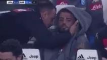 Juve-Napoli, Insigne in panchina si sfoga dopo il cambio