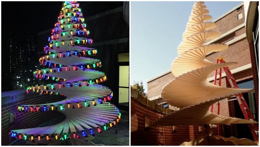 Alberi Di Natale In Legno Addobbati : Come realizzare un albero di natale con le assi di legno un idea