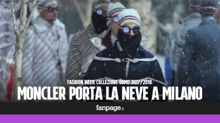 Neve a Milano: sfilata in bianco per Moncler Gamme Bleu