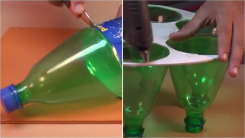 Prende delle bottiglie di plastica e le trasforma un idea