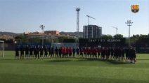 Attacco Barcellona, minuto di silenzio dei giocatori del Barça