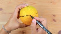Disegna una linea intorno all'arancia: il motivo è davvero originale