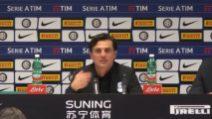 """Montella: """"Il Milan non meritava la sconfitta nel derby"""""""