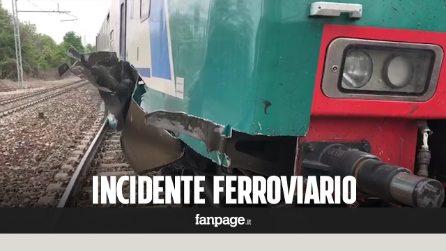 Cuneo, Treno regionale deraglia per una gru sui binari