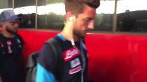 Fiorentina-Napoli, azzurri arrivano a Firenze e Insigne scherza con Mertens
