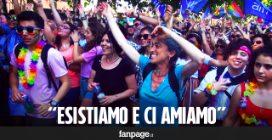 """Gay Pride a Pompei, cori contro la Lega e il ministro Fontana: """"Noi esistiamo e ci amiamo"""""""
