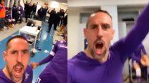Franck Ribery scatenato negli spogliatoi della Juventus: la festa della Fiorentina
