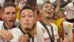 Batte l'Inter e vince la coppa: l'ex milanista Ocampos festeggia con i compagni nello spogliatoio