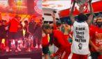 Bayern Monaco, i festeggiamenti dopo la partita: calciatori scatenati