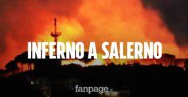 Incendio a Salerno, a fuoco la collina vicino alla città: le fiamme stanno divorando tutto