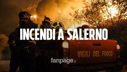 Notte d'inferno a Salerno. Le fiamme alte più di 3 metri hanno minacciato le abitazioni