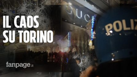 """Vetrine distrutte, bombe carta e violenza in pieno centro a Torino: """"Vogliamo Libertà"""""""