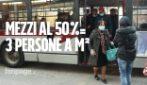 """Da oggi capienza dei mezzi al 50% anche a Roma: """"Autisti non possono fare i controllori"""""""