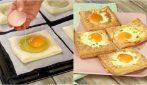 Quadrati di pasta sfoglia e uova: perfetti come antipasto!