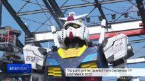 Gundam arriva all'aeroporto di Yokohama: il robot enorme si muove