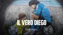 """Maradona e Dalma, il murales del Pibe de Oro al Centro Paradiso: """"Questo è il vero Diego"""""""