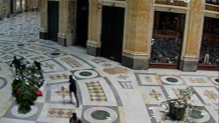 Napoli, il video del furto dell'albero di Natale in Galleria