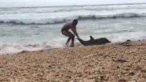 Rischia la vita per salvare quella del delfino: la scena bellissima in spiaggia