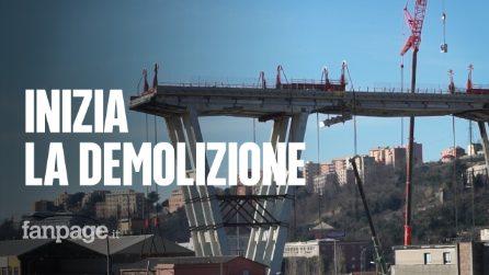 Ponte Morandi, al via la demolizione dei resti del viadotto