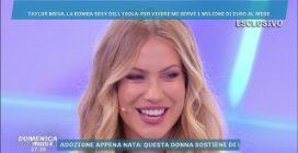 """Taylor Mega a Domenica Live: """"Vorrei 1 milione di euro al mese"""" e sfoggia un orologio di diamanti"""
