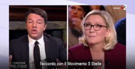 """Lo scontro (in francese) tra Renzi e Le Pen: """"Lei è la donna con più sconfitte elettorali"""""""