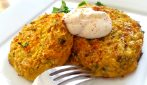 Cauliflower fritters: serve them over a bed of spinach, delicious