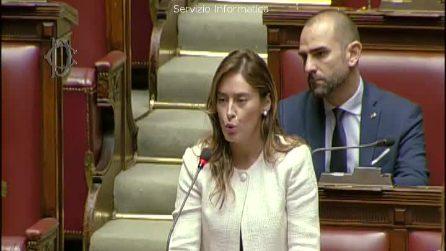 La Boschi si commuove durante il discorso in memoria delle studentesse morte in Erasmus