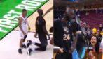 Basket, si inginocchia ed è alto quanto i suoi avversari: è uno degli uomini più alti al mondo