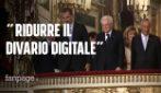 """Mattarella a Napoli con il Re di Spagna : """"Ridurre il divario digitale, non creare nuovi perdenti"""""""