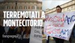 """Terremoto Centro Italia, protesta a Montecitorio: """"Ci avete dimenticato, politici buffoni"""""""