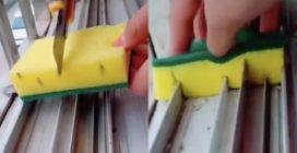 Utilizza una vecchia spugna per pulire la finestra: l'idea è eccezionale