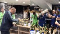 Trionfo Blues, Sarri vince l'Europa League: i festeggiamenti negli spogliatoi