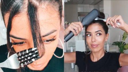 Avvolge i capelli attorno alla forchetta: il trucco per averli mossi in pochi secondi