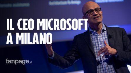 """Microsoft, il CEO Satya Nadella a Milano: """"L'intelligenza artificiale cambierà le aziende"""""""
