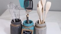 How to reuse glass jars and make a cutlery holder