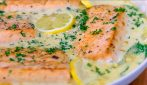 Pan-Fried Salmon with Creamy Garlic Sauce: can be eaten with pasta, rice or vegetables