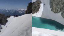 Nel bel mezzo del Monte Bianco: il lago formatosi dallo scioglimento dei ghiacciai