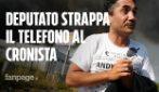 Nicola Acunzo, deputato Movimento 5 Stelle strappa telefono a giornalista che riprende contestazione