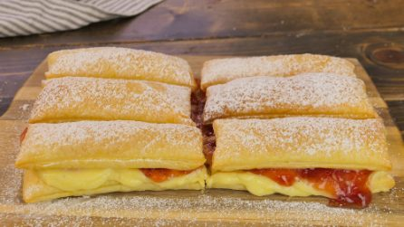 Cream and jam puff pastry bars: a sweet treaty ready in 20 minutes!