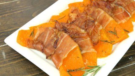 Zucca al forno con speck: la ricetta facile e veloce per un contorno saporito!