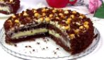 Sponge chocolate and custard cake: beautiful and so yummy