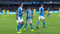 Napoli-Verona, il gol del vantaggio di Milik