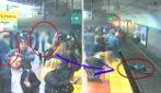 Un'assurda fatalità scaraventa la donna sui binari. L'intervento dei passeggeri evita una tragedia