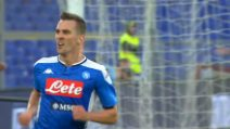 Roma-Napoli 2-1, il gol di Milik che accorcia le distanze
