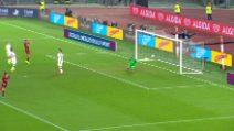 Roma, Zaniolo bacia la maglia dopo il gol al Milan