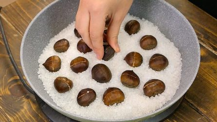 How to roast chestnuts in a cast iron skillet with big salt!